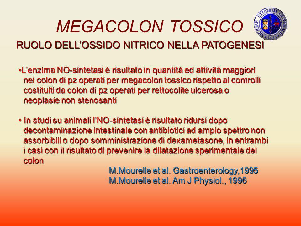 MEGACOLON TOSSICO RUOLO DELLOSSIDO NITRICO NELLA PATOGENESI Lenzima NO-sintetasi è risultato in quantità ed attività maggioriLenzima NO-sintetasi è ri