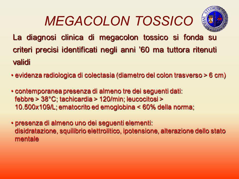 MEGACOLON TOSSICO La diagnosi clinica di megacolon tossico si fonda su criteri precisi identificati negli anni 60 ma tuttora ritenuti validi evidenza