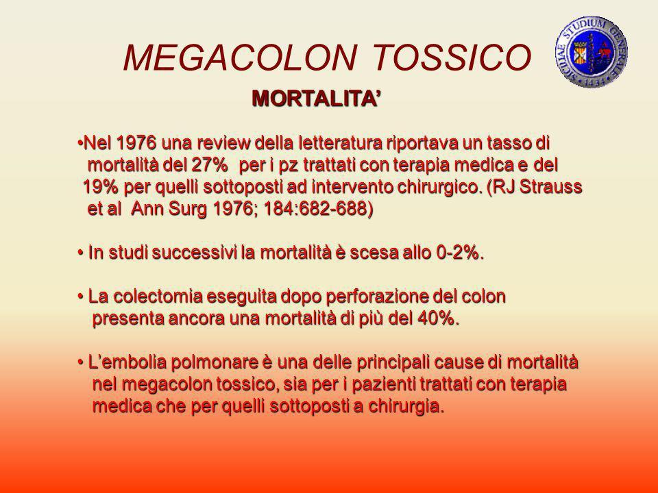 MEGACOLON TOSSICO MORTALITA Nel 1976 una review della letteratura riportava un tasso diNel 1976 una review della letteratura riportava un tasso di mor