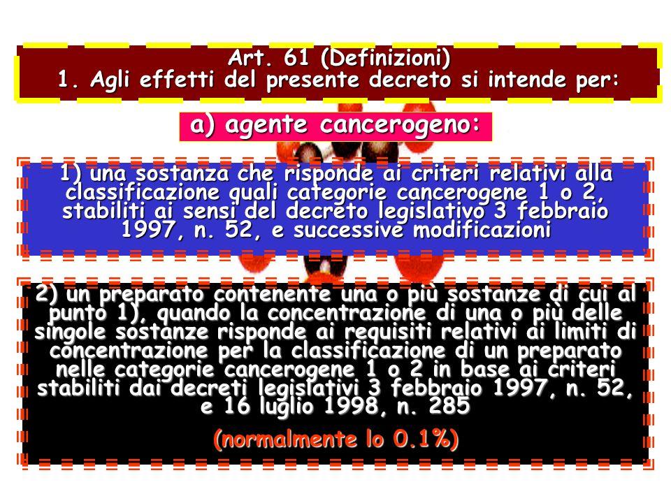 Art. 61 (Definizioni) 1. Agli effetti del presente decreto si intende per: 1) una sostanza che risponde ai criteri relativi alla classificazione quali