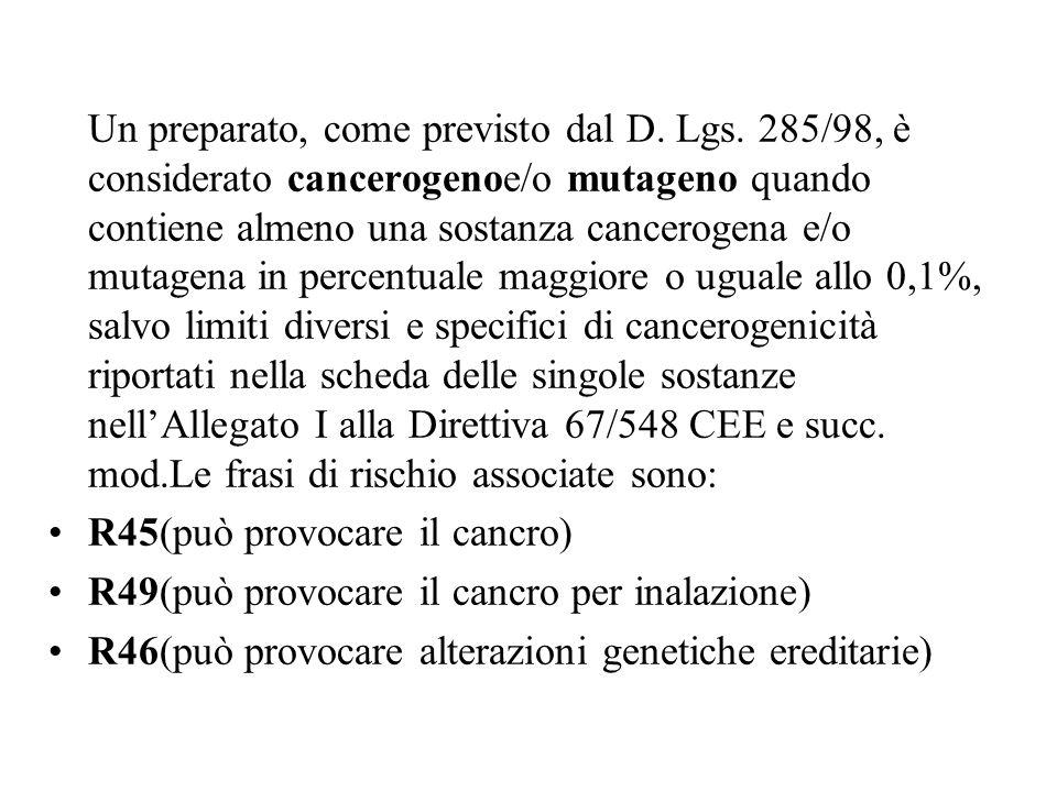 Un preparato, come previsto dal D. Lgs. 285/98, è considerato cancerogenoe/o mutageno quando contiene almeno una sostanza cancerogena e/o mutagena in
