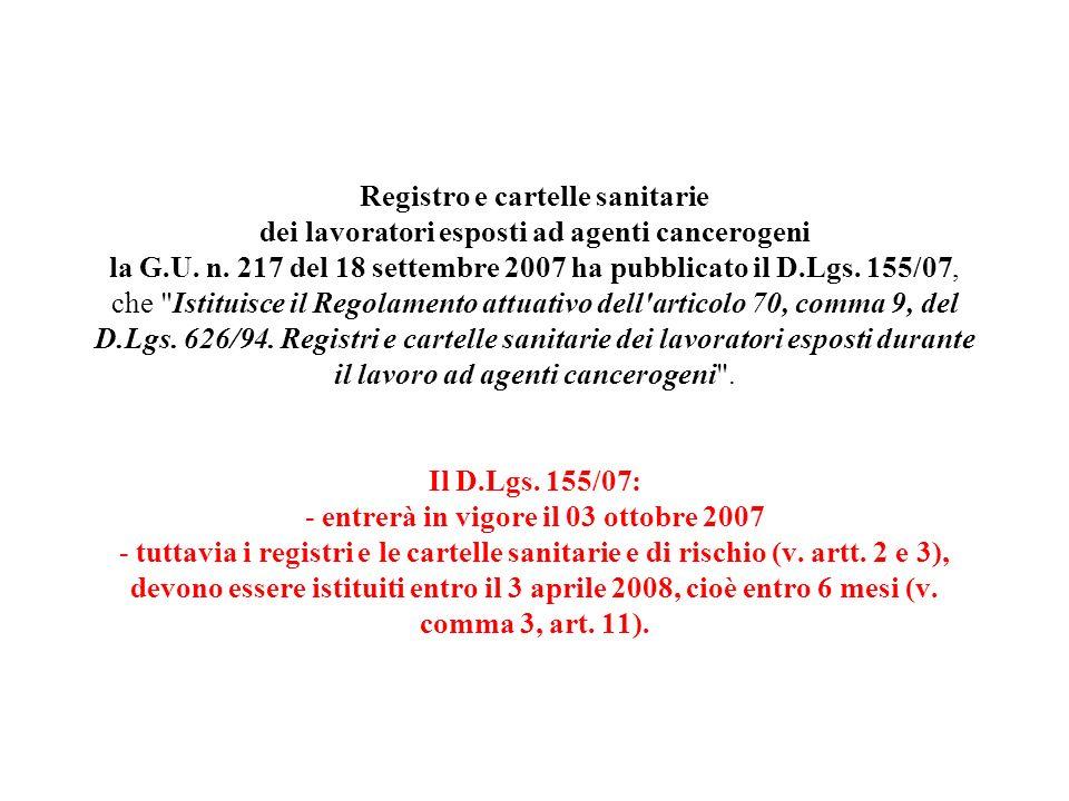 Registro e cartelle sanitarie dei lavoratori esposti ad agenti cancerogeni la G.U. n. 217 del 18 settembre 2007 ha pubblicato il D.Lgs. 155/07, che