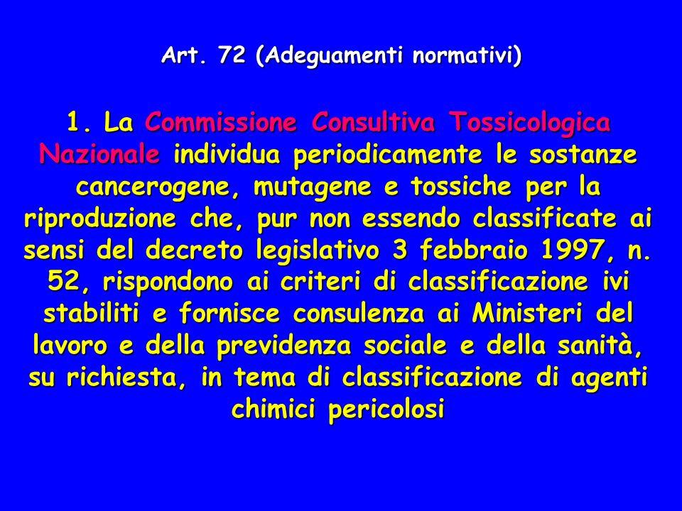 Art. 72 (Adeguamenti normativi) 1. La Commissione Consultiva Tossicologica Nazionale individua periodicamente le sostanze cancerogene, mutagene e toss