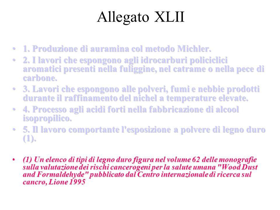 Allegato XLII 1. Produzione di auramina col metodo Michler.1. Produzione di auramina col metodo Michler. 2. I lavori che espongono agli idrocarburi po