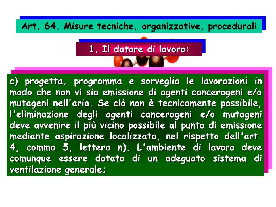 Art. 64. Misure tecniche, organizzative, procedurali 1. Il datore di lavoro: c) progetta, programma e sorveglia le lavorazioni in modo che non vi sia