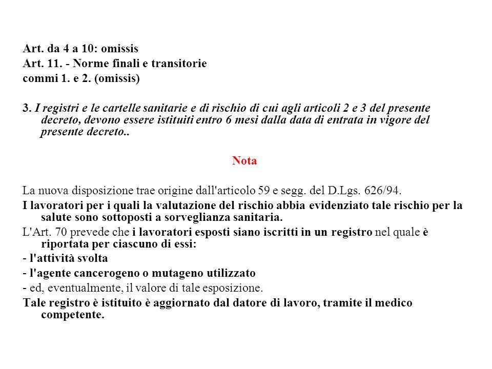Art. da 4 a 10: omissis Art. 11. - Norme finali e transitorie commi 1. e 2. (omissis) 3. I registri e le cartelle sanitarie e di rischio di cui agli a