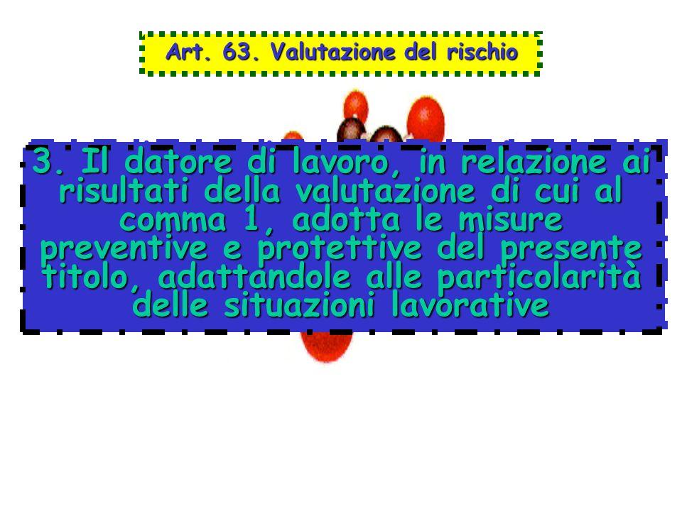 Art. 63. Valutazione del rischio 3. Il datore di lavoro, in relazione ai risultati della valutazione di cui al comma 1, adotta le misure preventive e