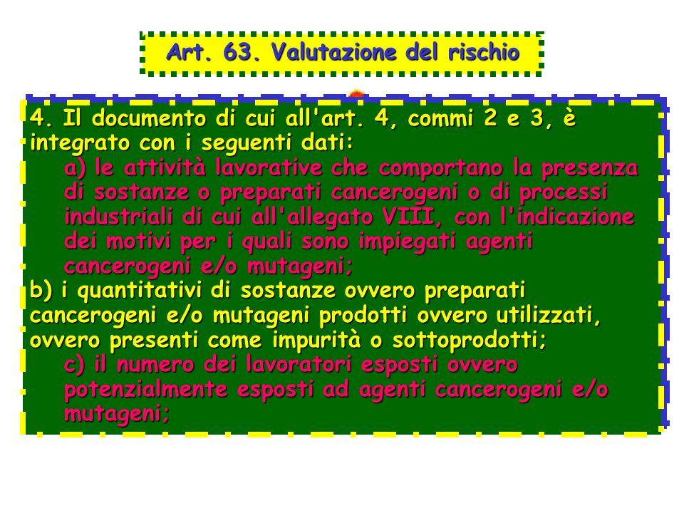 Art. 63. Valutazione del rischio 4. Il documento di cui all'art. 4, commi 2 e 3, è integrato con i seguenti dati: a) le attività lavorative che compor