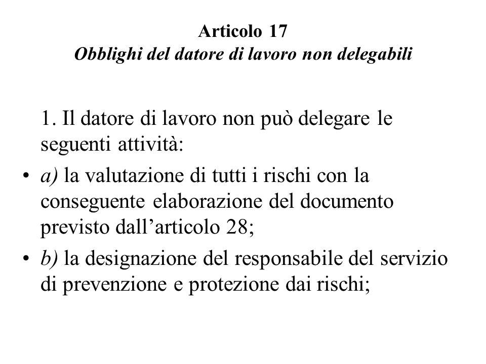 Articolo 17 Obblighi del datore di lavoro non delegabili 1. Il datore di lavoro non può delegare le seguenti attività: a) la valutazione di tutti i ri