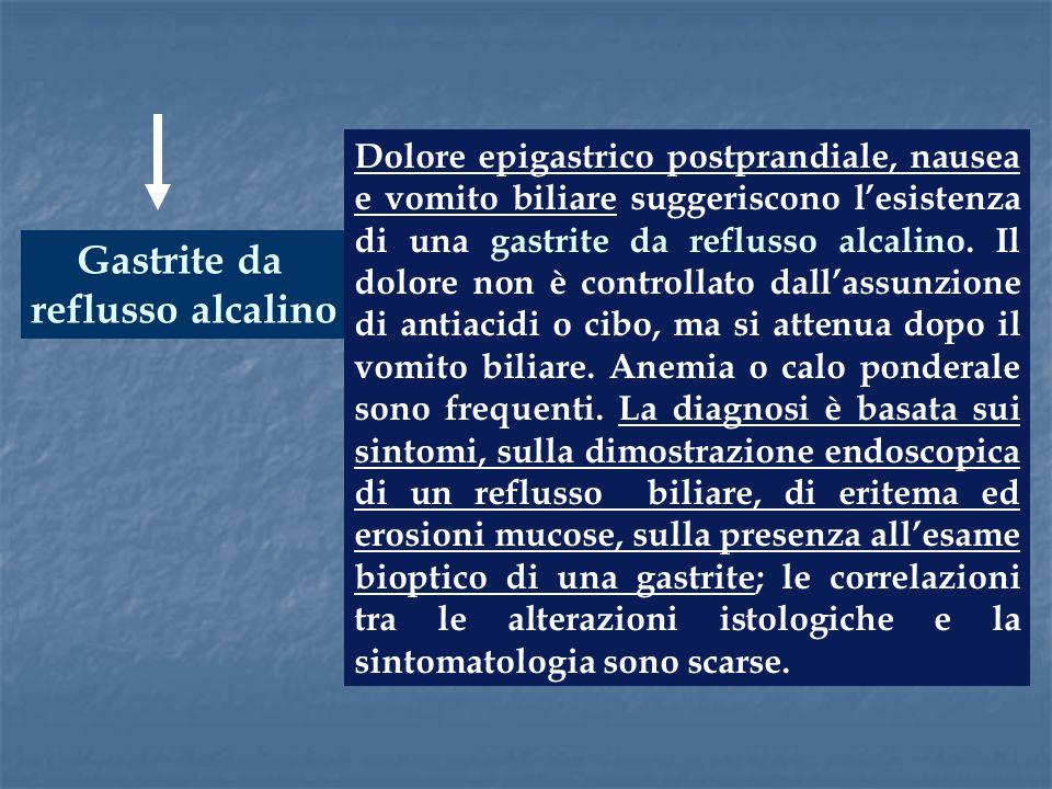Gastrite da reflusso alcalino Dolore epigastrico postprandiale, nausea e vomito biliare suggeriscono lesistenza di una gastrite da reflusso alcalino.