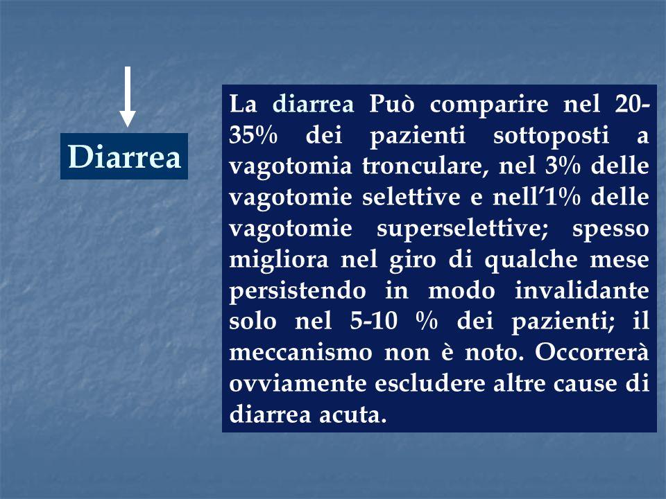 Diarrea La diarrea Può comparire nel 20- 35% dei pazienti sottoposti a vagotomia tronculare, nel 3% delle vagotomie selettive e nell1% delle vagotomie