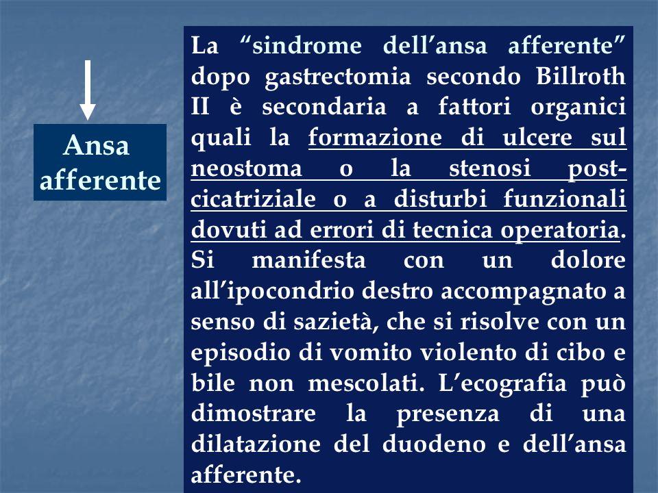 Ansa afferente La sindrome dellansa afferente dopo gastrectomia secondo Billroth II è secondaria a fattori organici quali la formazione di ulcere sul