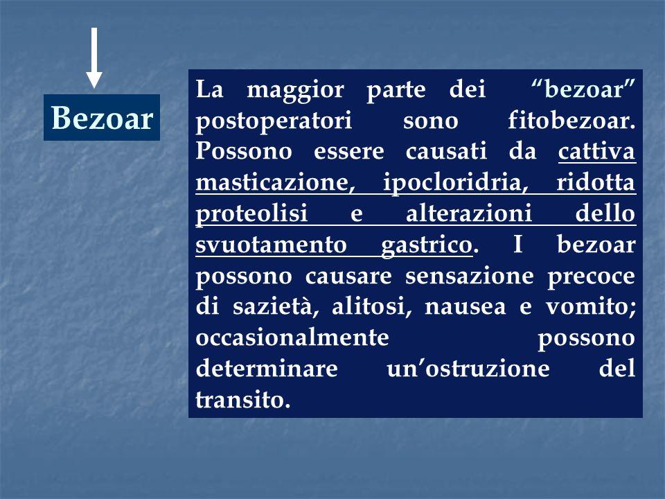 Bezoar La maggior parte dei bezoar postoperatori sono fitobezoar. Possono essere causati da cattiva masticazione, ipocloridria, ridotta proteolisi e a