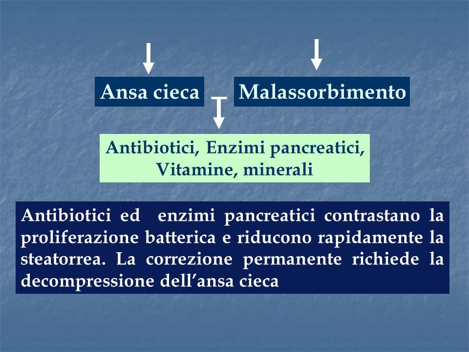 Ansa cieca Antibiotici ed enzimi pancreatici contrastano la proliferazione batterica e riducono rapidamente la steatorrea. La correzione permanente ri