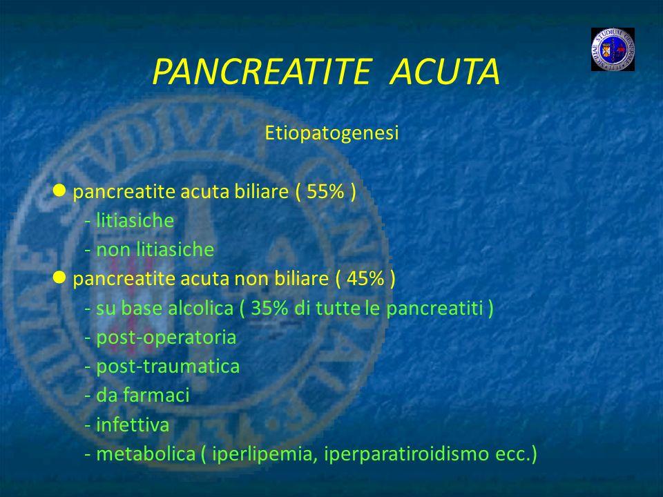 PANCREATITE ACUTA Etiopatogenesi pancreatite acuta biliare ( 55% ) - litiasiche - non litiasiche pancreatite acuta non biliare ( 45% ) - su base alcol
