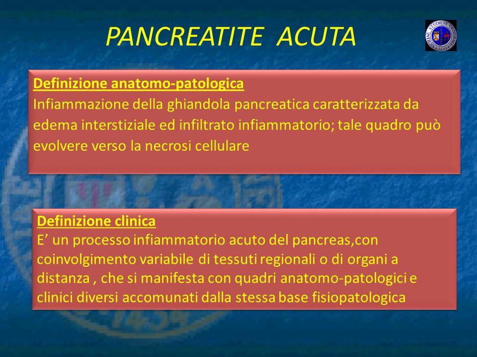 PANCREATITE ACUTA Definizione anatomo-patologica Infiammazione della ghiandola pancreatica caratterizzata da edema interstiziale ed infiltrato infiamm