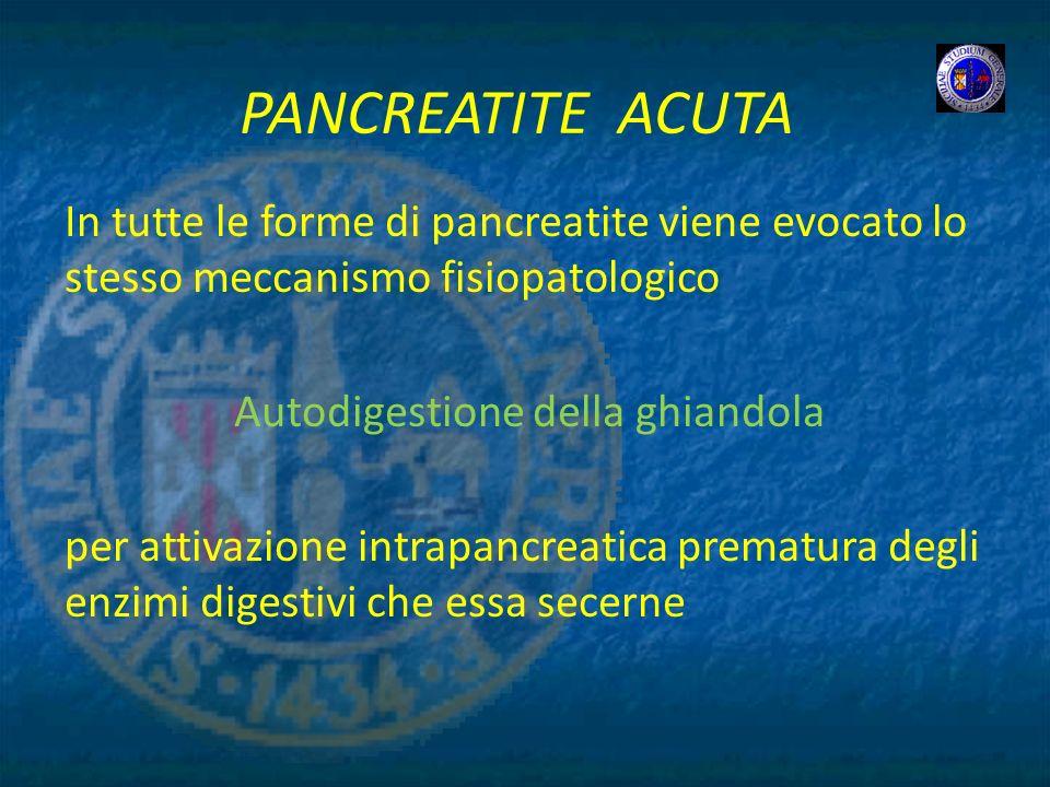 PANCREATITE ACUTA In tutte le forme di pancreatite viene evocato lo stesso meccanismo fisiopatologico Autodigestione della ghiandola per attivazione i