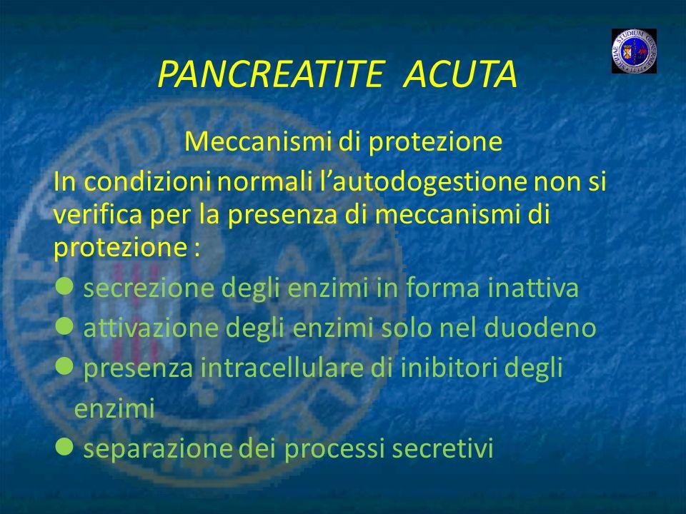 PANCREATITE ACUTA Meccanismi di protezione In condizioni normali lautodogestione non si verifica per la presenza di meccanismi di protezione : secrezi