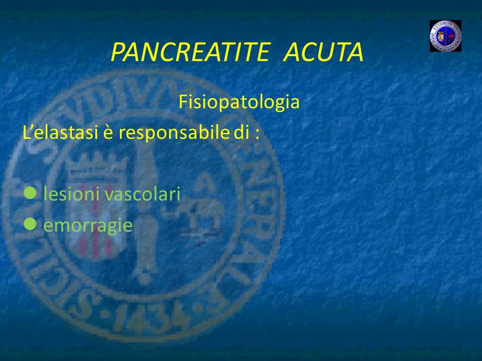 PANCREATITE ACUTA Fisiopatologia Lelastasi è responsabile di : lesioni vascolari emorragie