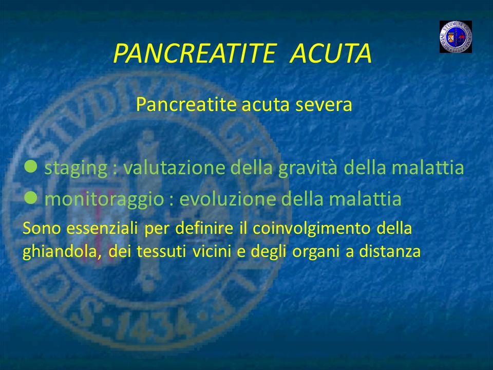 PANCREATITE ACUTA Pancreatite acuta severa staging : valutazione della gravità della malattia monitoraggio : evoluzione della malattia Sono essenziali