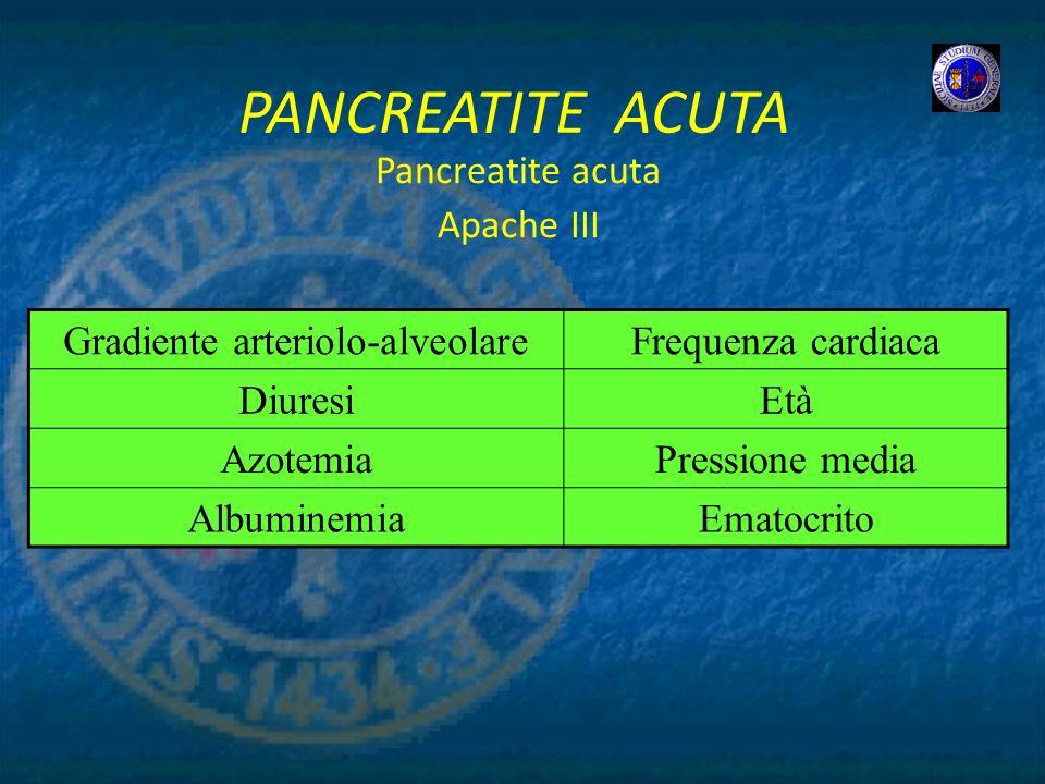 PANCREATITE ACUTA Pancreatite acuta Apache III Gradiente arteriolo-alveolareFrequenza cardiaca DiuresiEtà AzotemiaPressione media AlbuminemiaEmatocrit