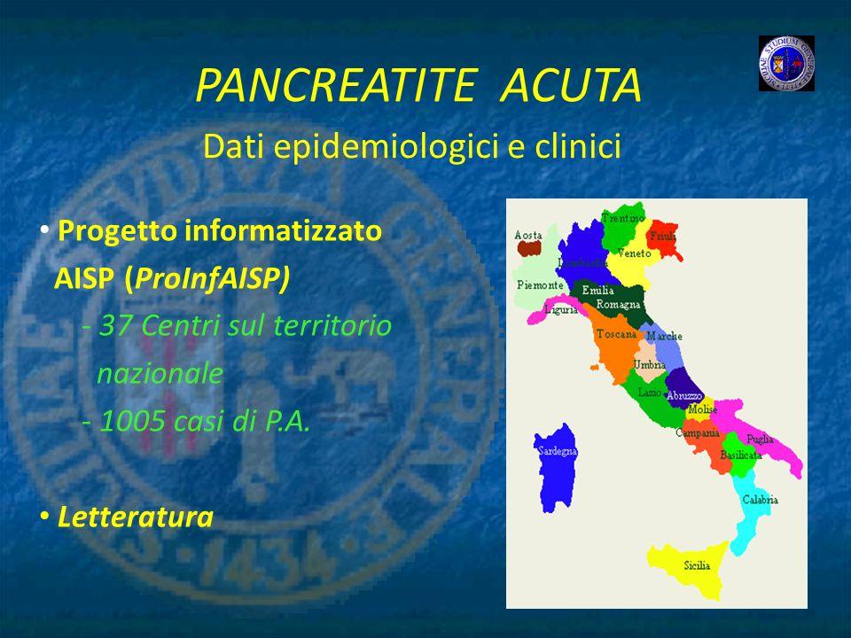 PANCREATITE ACUTA Progetto informatizzato AISP (ProInfAISP) - 37 Centri sul territorio nazionale - 1005 casi di P.A. Letteratura Dati epidemiologici e