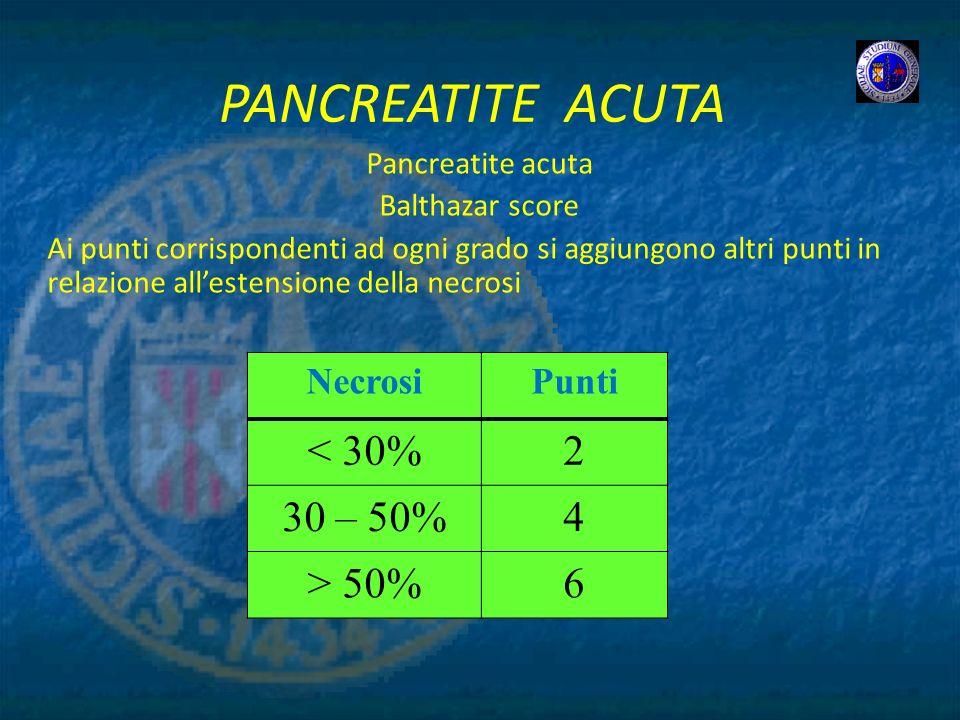 PANCREATITE ACUTA Pancreatite acuta Balthazar score Ai punti corrispondenti ad ogni grado si aggiungono altri punti in relazione allestensione della n