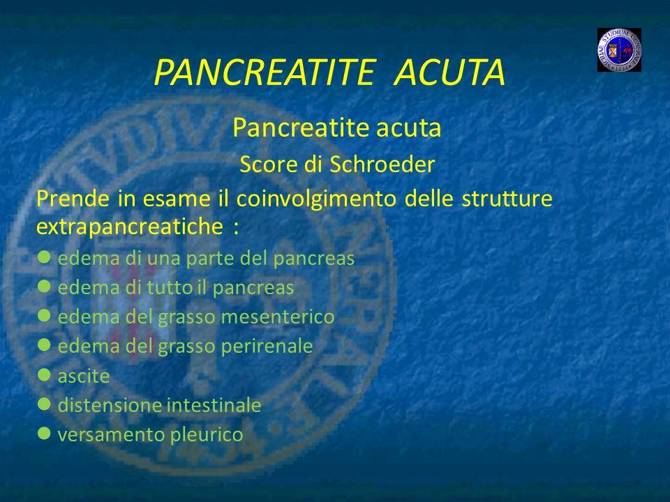 PANCREATITE ACUTA Pancreatite acuta Score di Schroeder Prende in esame il coinvolgimento delle strutture extrapancreatiche : edema di una parte del pa