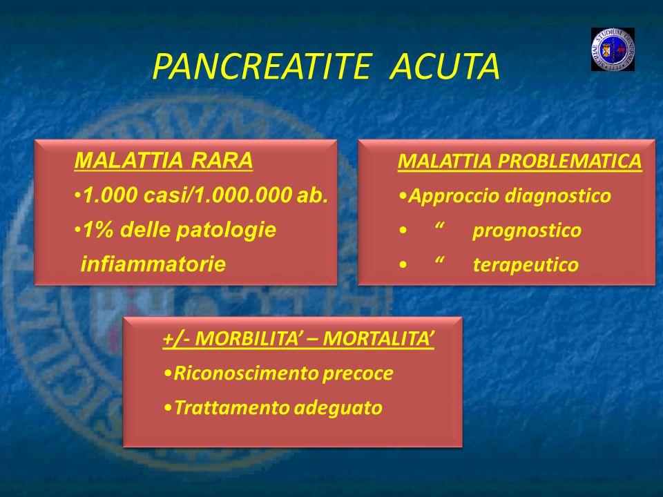 PANCREATITE ACUTA +/- MORBILITA – MORTALITA Riconoscimento precoce Trattamento adeguato +/- MORBILITA – MORTALITA Riconoscimento precoce Trattamento a