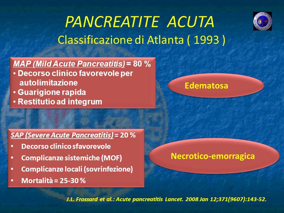 PANCREATITE ACUTA Edematosa Necrotico-emorragica J.L. Frossard et al.: Acute pancreatitis Lancet. 2008 Jan 12;371(9607):143-52. Classificazione di Atl