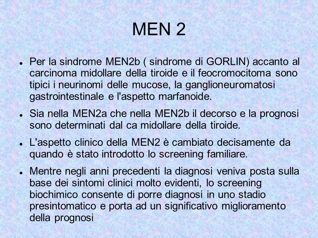 MEN 2 Per la sindrome MEN2b ( sindrome di GORLIN) accanto al carcinoma midollare della tiroide e il feocromocitoma sono tipici i neurinomi delle mucose, la ganglioneuromatosi gastrointestinale e l aspetto marfanoide.