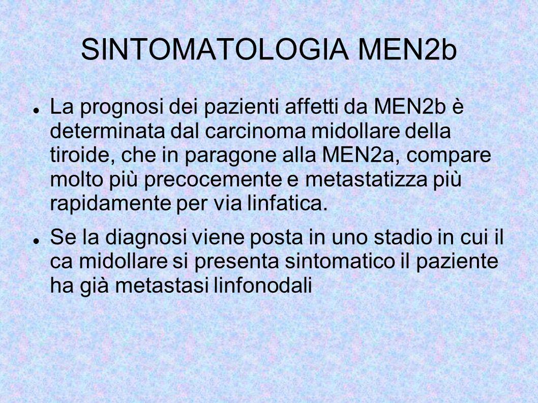 SINTOMATOLOGIA MEN2b La prognosi dei pazienti affetti da MEN2b è determinata dal carcinoma midollare della tiroide, che in paragone alla MEN2a, compar