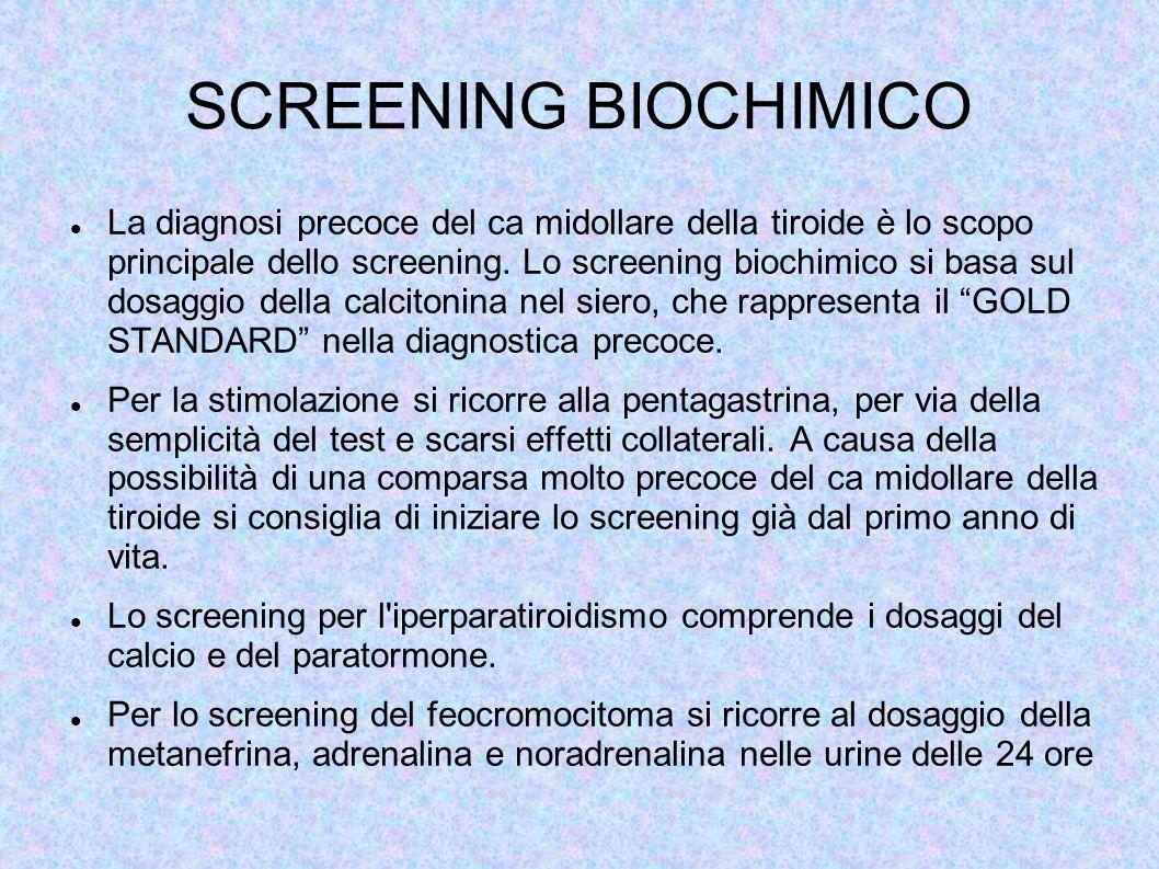 SCREENING BIOCHIMICO La diagnosi precoce del ca midollare della tiroide è lo scopo principale dello screening. Lo screening biochimico si basa sul dos