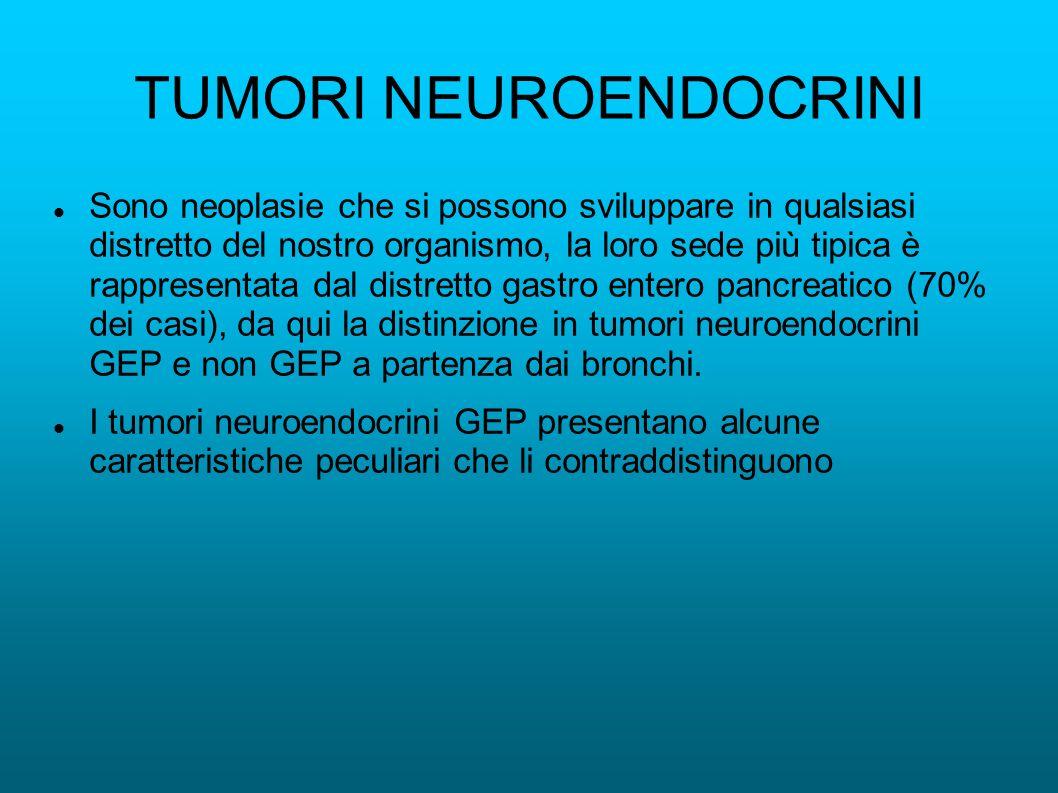 TUMORI NEUROENDOCRINI Sono neoplasie che si possono sviluppare in qualsiasi distretto del nostro organismo, la loro sede più tipica è rappresentata dal distretto gastro entero pancreatico (70% dei casi), da qui la distinzione in tumori neuroendocrini GEP e non GEP a partenza dai bronchi.