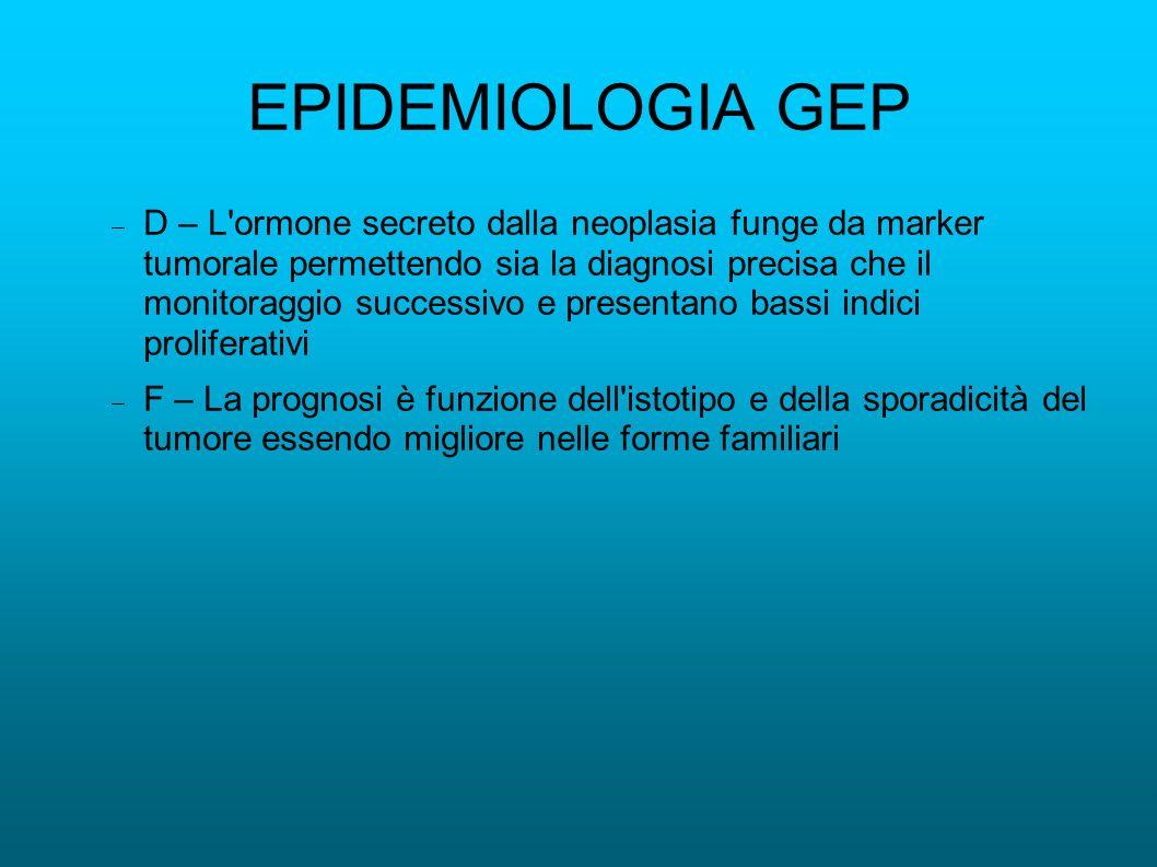 EPIDEMIOLOGIA GEP D – L'ormone secreto dalla neoplasia funge da marker tumorale permettendo sia la diagnosi precisa che il monitoraggio successivo e p