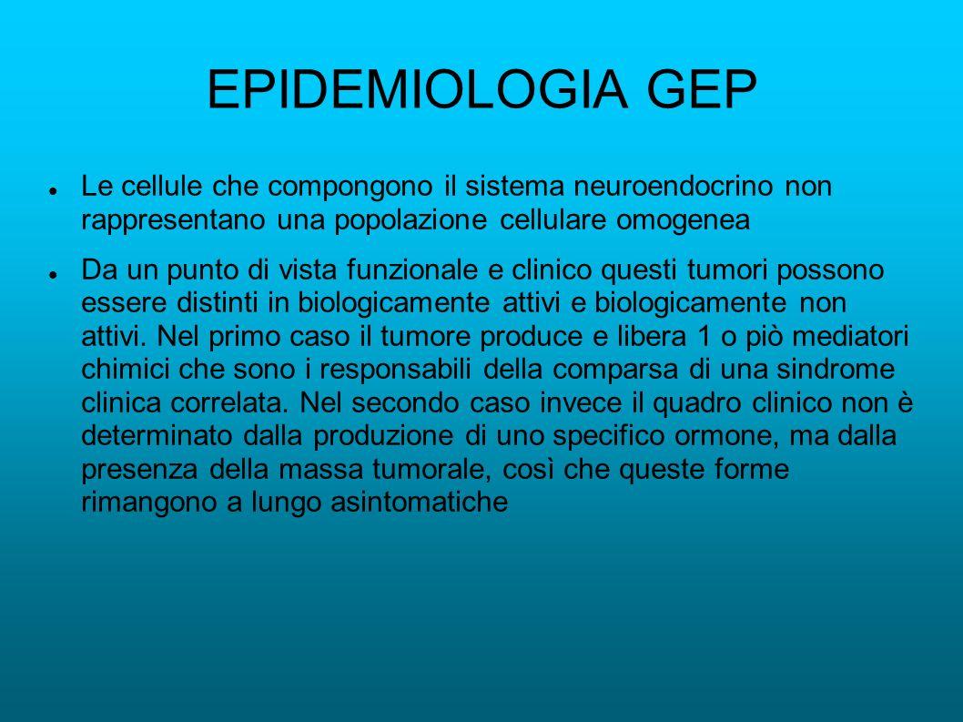 EPIDEMIOLOGIA GEP Le cellule che compongono il sistema neuroendocrino non rappresentano una popolazione cellulare omogenea Da un punto di vista funzio