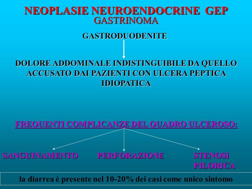 NEOPLASIE NEUROENDOCRINE GEP GASTRINOMA GASTRODUODENITE DOLORE ADDOMINALE INDISTINGUIBILE DA QUELLO ACCUSATO DAI PAZIENTI CON ULCERA PEPTICA IDIOPATICA FREQUENTI COMPLICANZE DEL QUADRO ULCEROSO: SANGUINAMENTOPERFORAZIONE STENOSI PILORICA la diarrea è presente nel 10-20% dei casi come unico sintomo