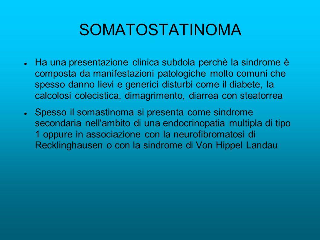 SOMATOSTATINOMA Ha una presentazione clinica subdola perchè la sindrome è composta da manifestazioni patologiche molto comuni che spesso danno lievi e generici disturbi come il diabete, la calcolosi colecistica, dimagrimento, diarrea con steatorrea Spesso il somastinoma si presenta come sindrome secondaria nell ambito di una endocrinopatia multipla di tipo 1 oppure in associazione con la neurofibromatosi di Recklinghausen o con la sindrome di Von Hippel Landau