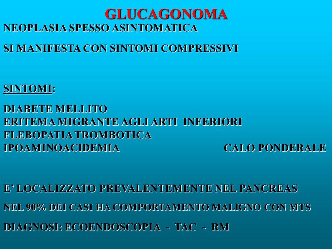 GLUCAGONOMA NEOPLASIA SPESSO ASINTOMATICA SI MANIFESTA CON SINTOMI COMPRESSIVI SINTOMI: DIABETE MELLITO ERITEMA MIGRANTE AGLI ARTI INFERIORI FLEBOPATIA TROMBOTICA IPOAMINOACIDEMIA CALO PONDERALE E LOCALIZZATO PREVALENTEMENTE NEL PANCREAS NEL 90% DEI CASI HA COMPORTAMENTO MALIGNO CON MTS DIAGNOSI: ECOENDOSCOPIA - TAC - RM