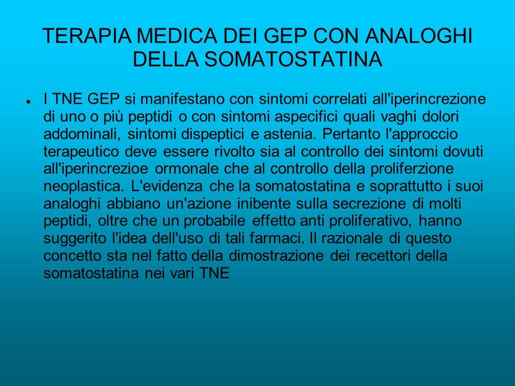 TERAPIA MEDICA DEI GEP CON ANALOGHI DELLA SOMATOSTATINA I TNE GEP si manifestano con sintomi correlati all'iperincrezione di uno o più peptidi o con s
