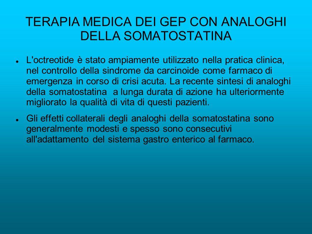 TERAPIA MEDICA DEI GEP CON ANALOGHI DELLA SOMATOSTATINA L octreotide è stato ampiamente utilizzato nella pratica clinica, nel controllo della sindrome da carcinoide come farmaco di emergenza in corso di crisi acuta.