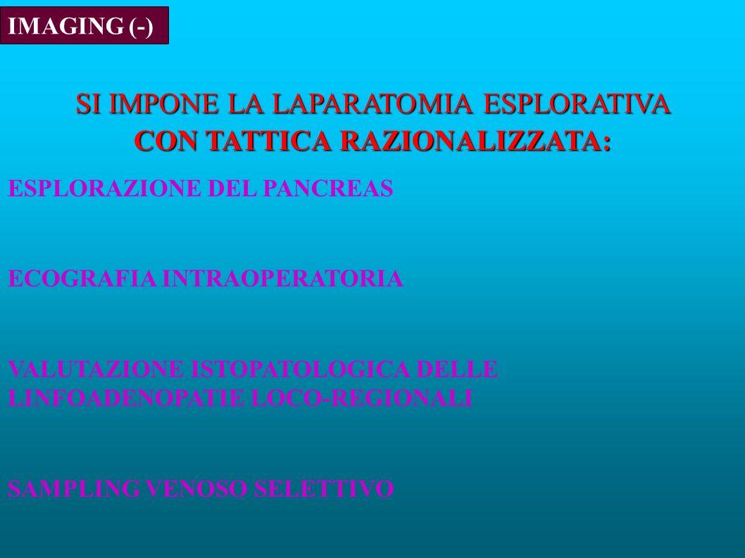 IMAGING (-) SI IMPONE LA LAPARATOMIA ESPLORATIVA CON TATTICA RAZIONALIZZATA: ESPLORAZIONE DEL PANCREAS ECOGRAFIA INTRAOPERATORIA VALUTAZIONE ISTOPATOLOGICA DELLE LINFOADENOPATIE LOCO-REGIONALI SAMPLING VENOSO SELETTIVO