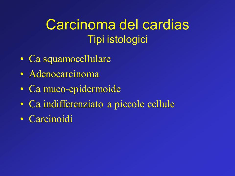 Carcinoma del cardias Tipi istologici Ca squamocellulare Adenocarcinoma Ca muco-epidermoide Ca indifferenziato a piccole cellule Carcinoidi