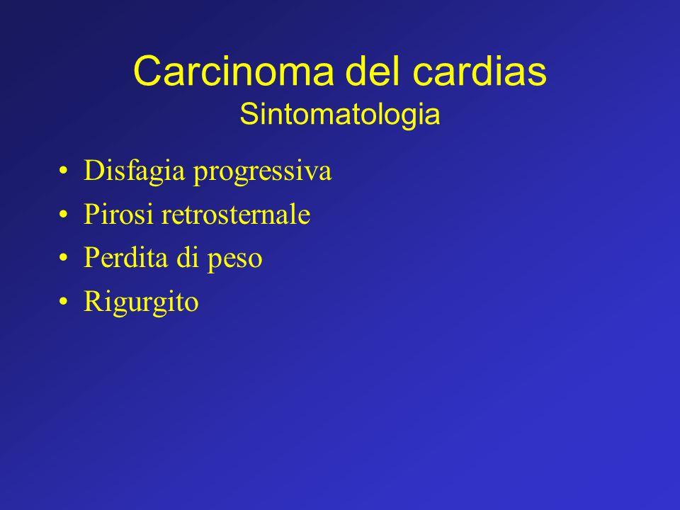 Carcinoma del cardias Sintomatologia Disfagia progressiva Pirosi retrosternale Perdita di peso Rigurgito