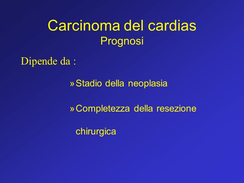 Carcinoma del cardias Prognosi Dipende da : »Stadio della neoplasia »Completezza della resezione chirurgica