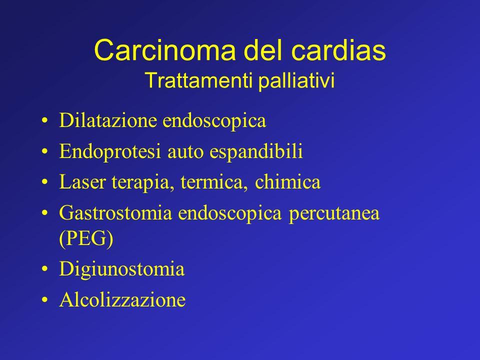 Carcinoma del cardias Trattamenti palliativi Dilatazione endoscopica Endoprotesi auto espandibili Laser terapia, termica, chimica Gastrostomia endosco