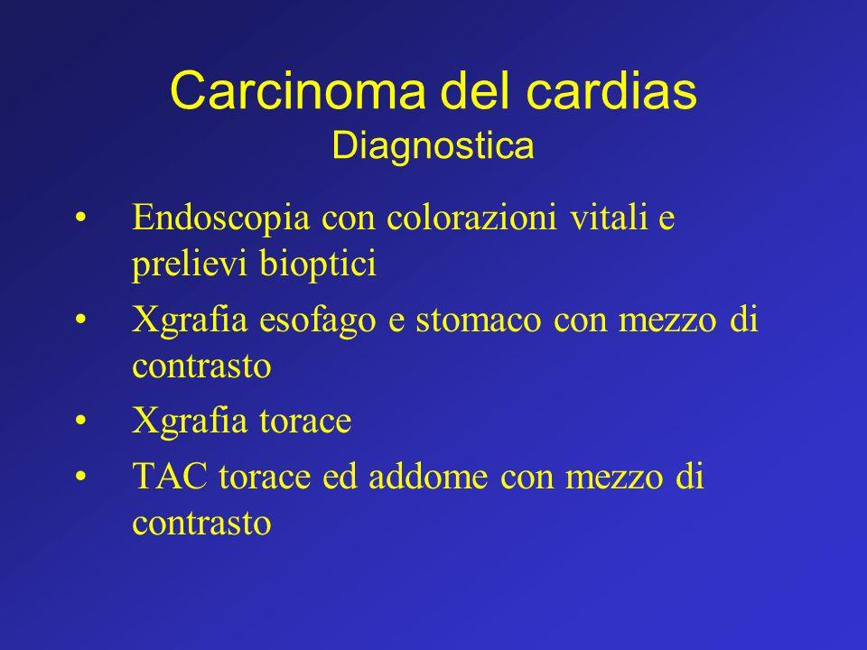 Carcinoma del cardias Diagnostica Endoscopia con colorazioni vitali e prelievi bioptici Xgrafia esofago e stomaco con mezzo di contrasto Xgrafia torac