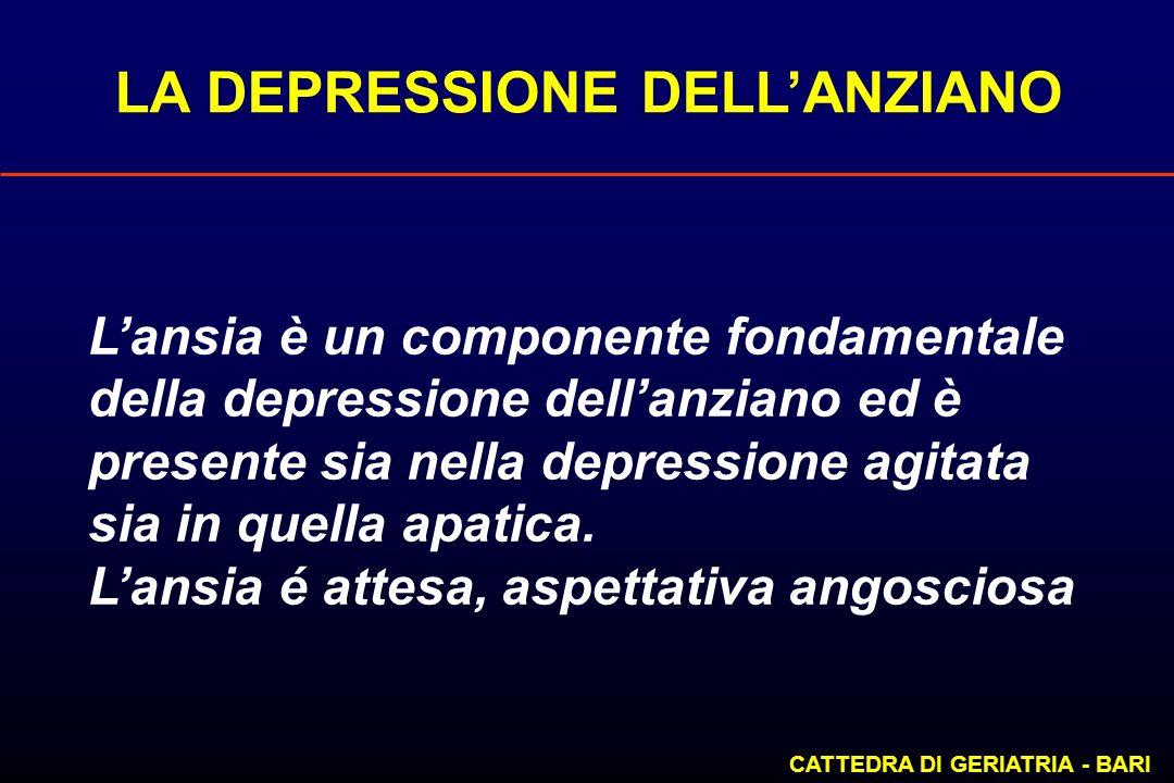 LA DEPRESSIONE DELLANZIANO CATTEDRA DI GERIATRIA - BARI Lansia è un componente fondamentale della depressione dellanziano ed è presente sia nella depr