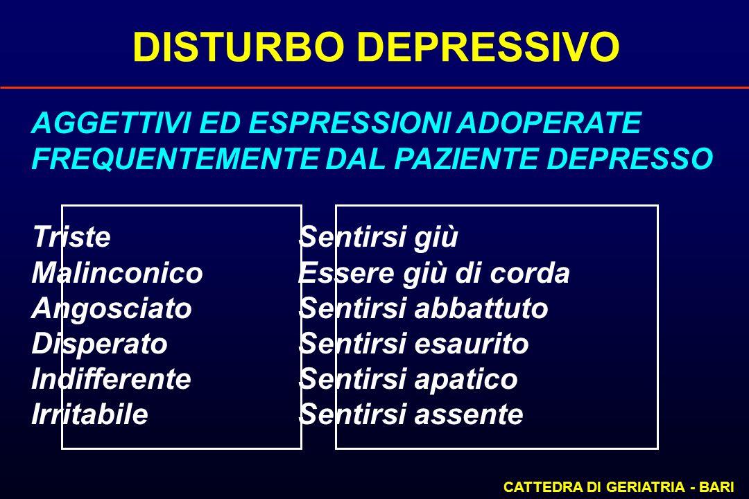 DISTURBO DEPRESSIVO CATTEDRA DI GERIATRIA - BARI AGGETTIVI ED ESPRESSIONI ADOPERATE FREQUENTEMENTE DAL PAZIENTE DEPRESSO Triste Sentirsi giù Malinconi