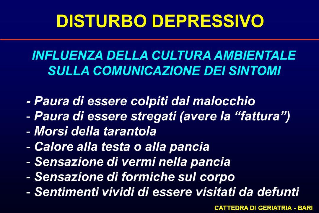 DISTURBO DEPRESSIVO CATTEDRA DI GERIATRIA - BARI INFLUENZA DELLA CULTURA AMBIENTALE SULLA COMUNICAZIONE DEI SINTOMI - Paura di essere colpiti dal malo